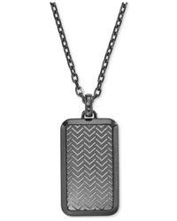 Emporio Armani - Metallic Men's Gunmetal Textured Dog Tag Pendant Necklace Egs2255 for Men - Lyst