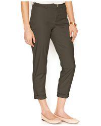 Maison Jules - Green Cropped Straight-leg Pants - Lyst