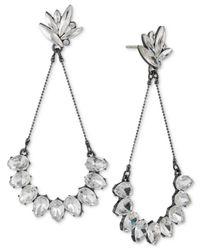 ABS By Allen Schwartz - White Hematite-tone Crystal Drop Earrings - Lyst