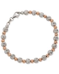 Giani Bernini - Metallic Two-tone Textured Beaded Bracelet - Lyst