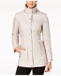 Calvin Klein - Natural Hooded Chevron Quilted Coat - Lyst