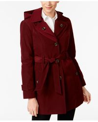 London Fog - Red Double-notch-collar Belted Trench Coat - Lyst