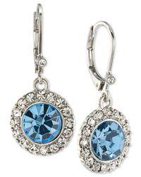 Carolee - Silver-tone Blue & Clear Crystal Drop Earrings - Lyst