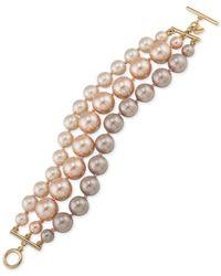 Carolee - Metallic Gold-tone Imitation Pearl Three-row Toggle Bracelet - Lyst