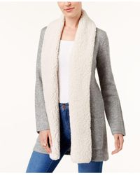 Style & Co. - Gray Faux Sherpa Collar Cardigan - Lyst