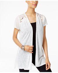 August Silk - White Mixed-media Crochet-trim Cardigan - Lyst