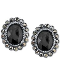 2028 | Black Hematite-tone Jet Oval Button Earrings, A Macy's Exclusive Style | Lyst