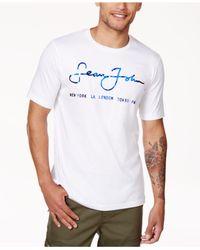 Sean John | White Men's Script City Logo-print T-shirt for Men | Lyst