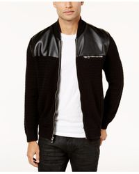 INC International Concepts - Black Men's Mixed Media Sweater-jacket for Men - Lyst