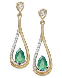 Macy's | Metallic 14k Gold Earrings, Emerald (3/4 Ct. T.w.) And Diamond (1/10 Ct. T.w.) Pear-shaped Drop Earrings | Lyst