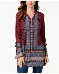 Style & Co. - Red Printed Split-neck Tunic Top, Created For Macy's - Lyst