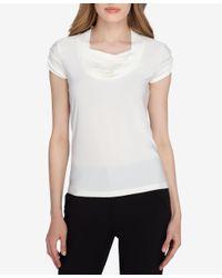 Tahari | White Short-sleeve Draped Ruched Top | Lyst