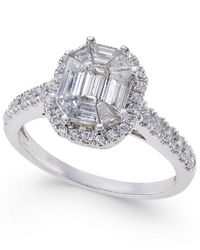Macy's - Metallic Diamond Octagon Halo Engagement Ring (1 Ct. T.w.) In 14k White Gold - Lyst