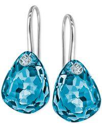 Swarovski | Blue Multi-faceted Crystal Drop Earrings | Lyst