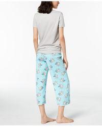 Hue - Gray ® Printed Capri Pajama Set - Lyst
