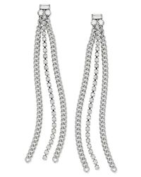 ABS By Allen Schwartz | Metallic Earrings, Silver-tone Rhinestone Chain Linear Drop Earrings | Lyst