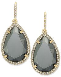 ABS By Allen Schwartz | Metallic Earrings, Gold-tone Dark Gray Crystal Pave Teardrop Earrings | Lyst