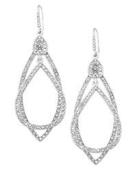 ABS By Allen Schwartz | Metallic Earrings, Silver-tone Pave Crystal Orbital Drop Earrings | Lyst
