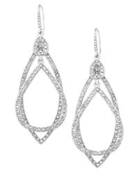 ABS By Allen Schwartz | Metallic Earrings, Silver-tone Pave Crystal Orbital Drop Earrings | Lyst