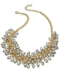 ABS By Allen Schwartz   Metallic Necklace, Gold-tone Shaky Beaded Frontal Necklace   Lyst