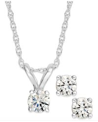 Macy's | Metallic Round-cut Diamond Pendant Necklace And Earrings Set In 10k Yellow Or White Gold (1/6 Ct. T.w.) | Lyst