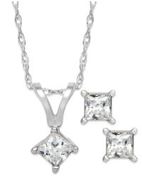 Macy's | Metallic Princess-cut Diamond Pendant Necklace And Earrings Set In 10k White Gold (1/10 Ct. T.w.) | Lyst