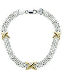 Giani Bernini - Metallic Decorative Mesh Bracelet In Sterling Silver & Gold-plate - Lyst