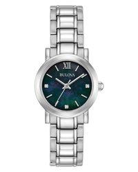 Bulova - Metallic Women's Diamond Dress Diamond-accent Stainless Steel Bracelet Watch 26mm - Lyst