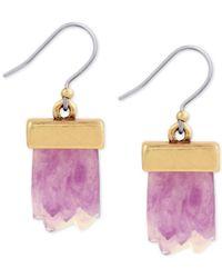 Lucky Brand | Metallic Gold-tone Rock Crystal Drop Earrings | Lyst