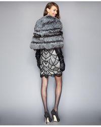 The Fur Vault - Gray Fox Fur Cropped Cape - Lyst