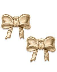 Macy's | Metallic 10k Gold Earrings, Bow Stud Earrings | Lyst
