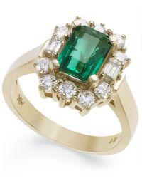 Macy's | Metallic 14k Gold Ring, Emerald (1-5/8 Ct. T.w.) And Diamond (3/4 Ct. T.w.) Ring | Lyst