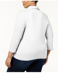 Karen Scott White Plus Size Cotton Pleated Polo Top, Created For Macy's
