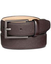 Alfani - Brown Men's Faux Saffiano Dress Belt for Men - Lyst