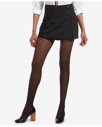 Hue - Black ® Faux Fishnet Printed Tights - Lyst