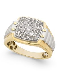 Macy's - Metallic Men's Diamond Two-tone Cluster Ring (3/4 Ct. T.w.) In 10k Gold And White Gold for Men - Lyst