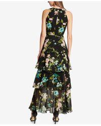 Tommy Hilfiger - Black Printed Ruffled Maxi Dress - Lyst