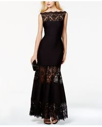 Tadashi Shoji - Black Boatneck Paneled Gown - Lyst