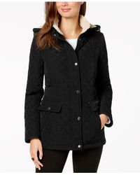 Laundry by Shelli Segal Black Fleece-lined Hooded Coat