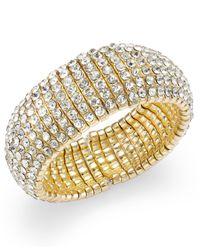 INC International Concepts - Metallic Gold-tone Crystal Stone Stretch Bracelet - Lyst