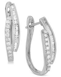 Macy's - Diamond Hoop Earrings (1/2 Ct. T.w.) In 14k Yellow Or White Gold - Lyst