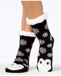 Charter Club - Black Women's Penguin Slipper Socks With Fleece & Grippers - Lyst