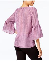 Kensie   Multicolor Striped Ruffle-sleeve Top   Lyst