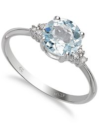 Macy's - 14k White Gold Aquamarine (1 Ct. T.w.) And Diamond Accent Ring - Lyst