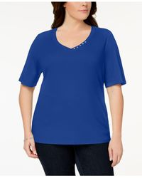 Karen Scott Blue Plus Size Button-studded V-neck Top, Created For Macy's