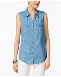 Style & Co. | Blue Sleeveless Denim Shirt | Lyst
