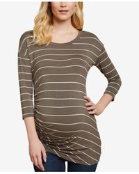 Jessica Simpson - Multicolor Maternity Ruched Jersey T-shirt - Lyst