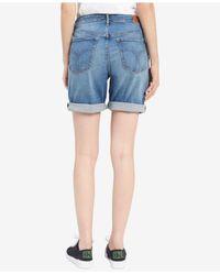 Calvin Klein - Blue Distressed Denim City Shorts - Lyst