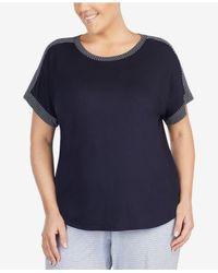 DKNY - Blue Plus Size Contrast-trim Pajama Top - Lyst