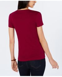 Tommy Hilfiger - Red V-neck T-shirt, Created For Macy's - Lyst